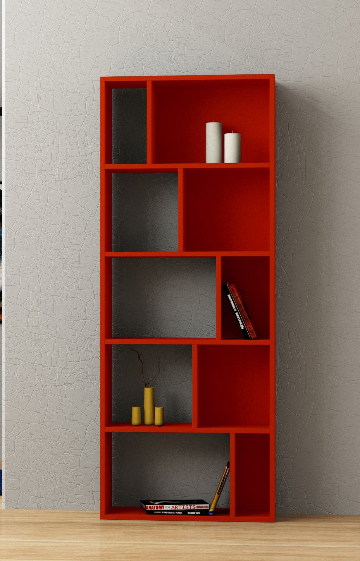 Got red bookcase in modern design with
