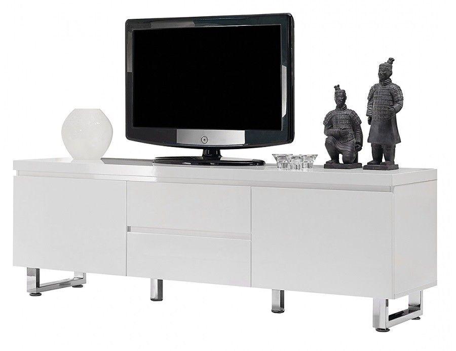 Meuble Tv Design Nora Ii Blanc Laque 170 Cm Avec Images Meuble