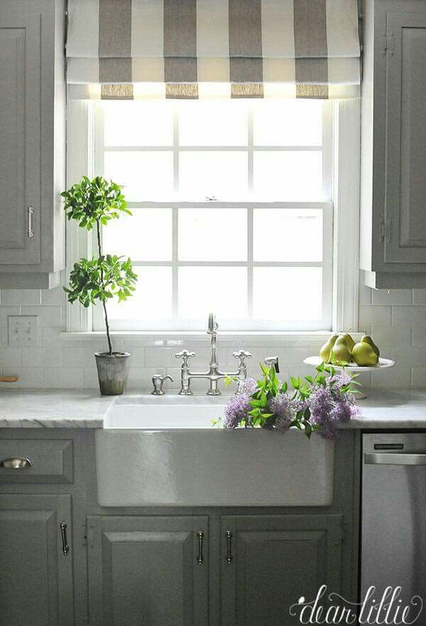 We Love Interest This Striped Faux Roman Shade Adds To Gray And White Kitchen The Pops Of Green From Pears Homegoods Add A Bright Touch