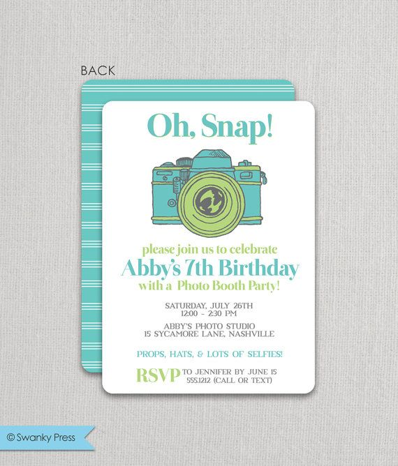 Custom Invitations for Megan Photo booth party, Photo booth and - fresh birthday invitation from a kid