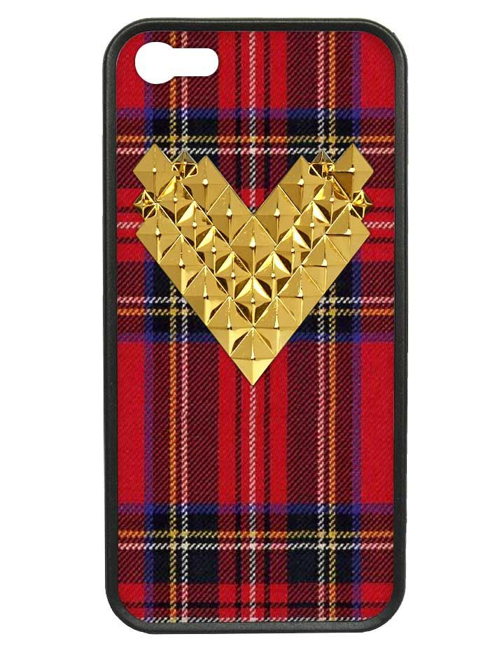 Tartan Gold Studded Heart iPhone 5/5s Case -- wildflower perfection.