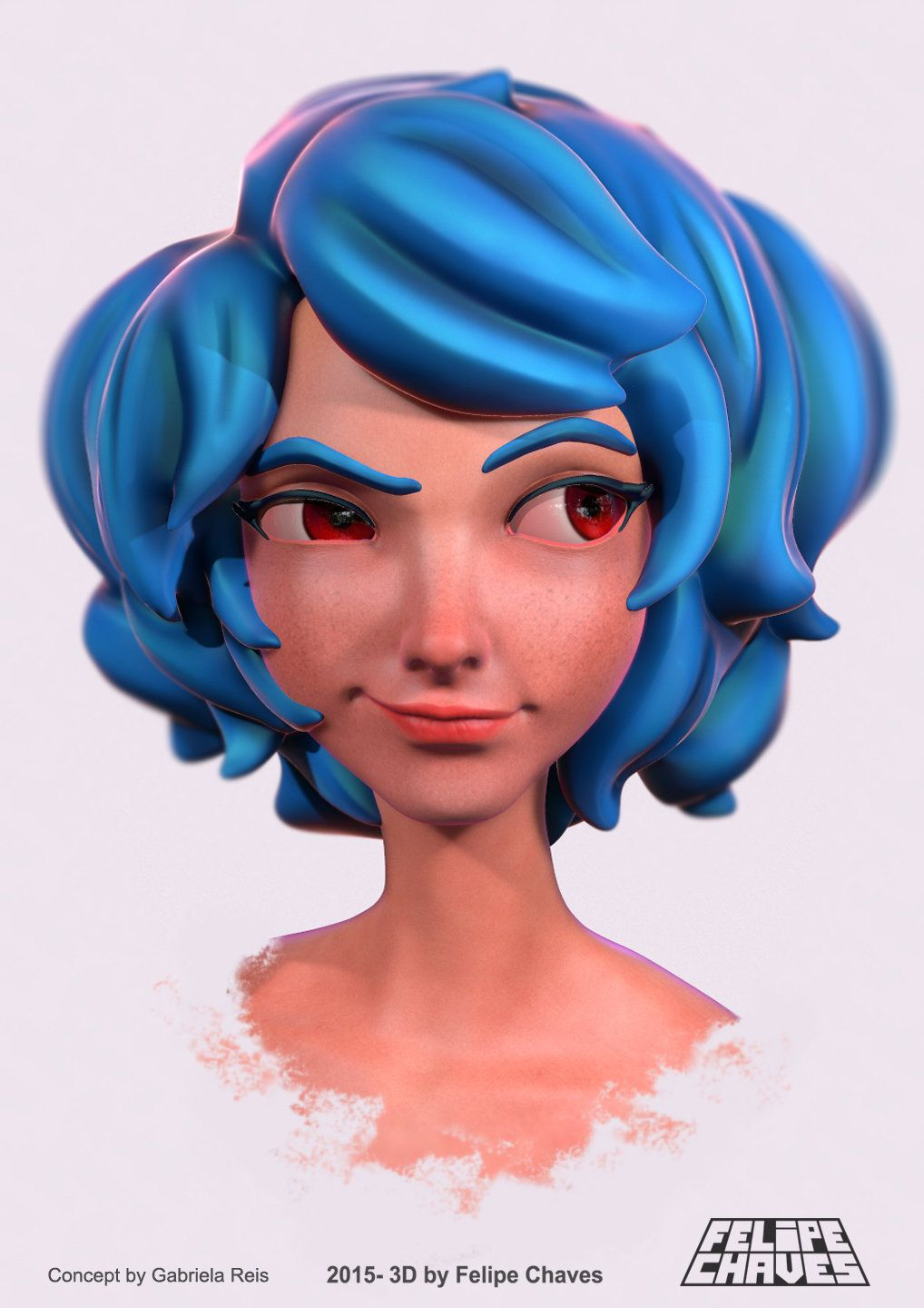Artstation Jenny Blue Hair Girl Felipe Chaves