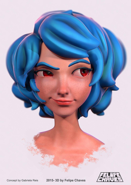 Jenny Blue Hair Girl Felipe Chaves Character Design Inspiration Character Design Artwork