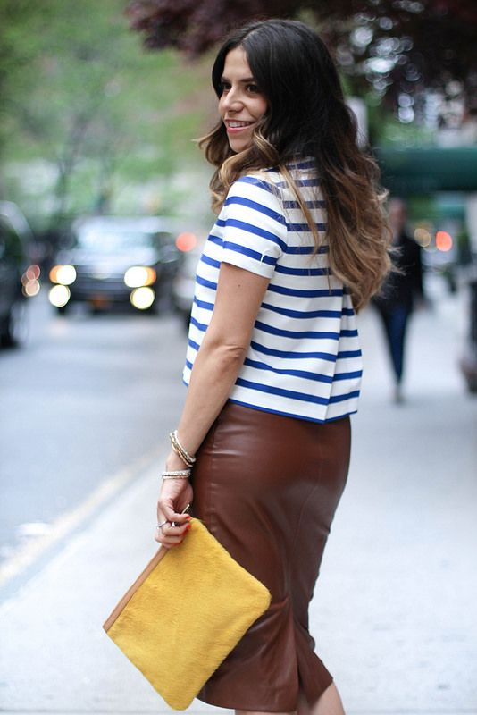 stripes cropped top leather skirt banana republic clutch ...