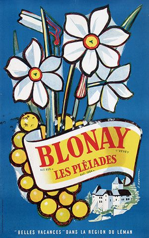 Blonay Les Pléiades 1950 Samuel Henchoz Posters Tourist Switzerland Pinterest Vintage Travel And Poster