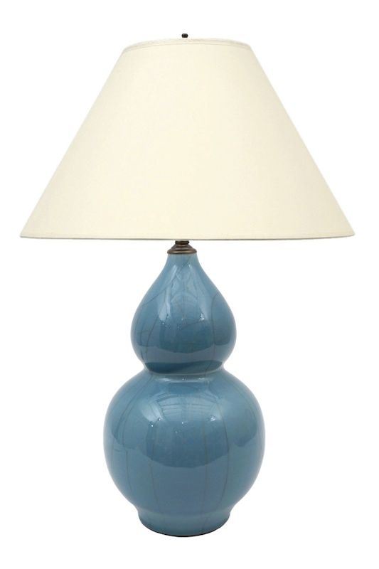 Blue Crackle Glazed Double Gourd Ceramic Table Lamp. France, Circa 1960