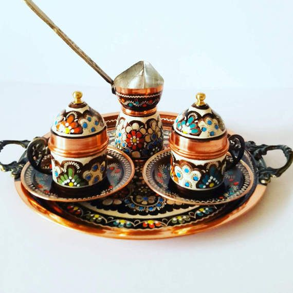 Turkish Ottomancoffee Serving Setcoffee Porcelain Cupsaucer Coffee Maker Potset Handmade