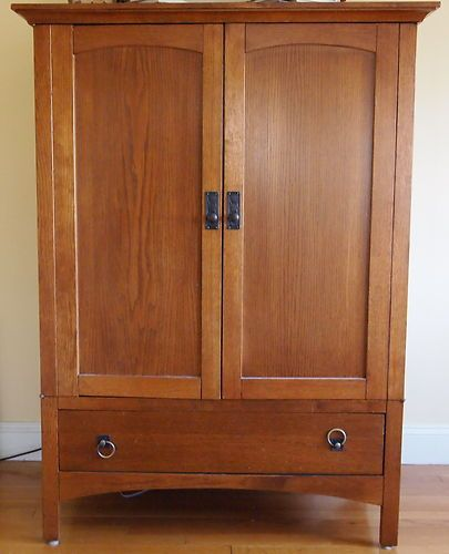 Arts Crafts Mission Style Furniture Oak Tv Stand Audio Cabinet Media Console Ebay