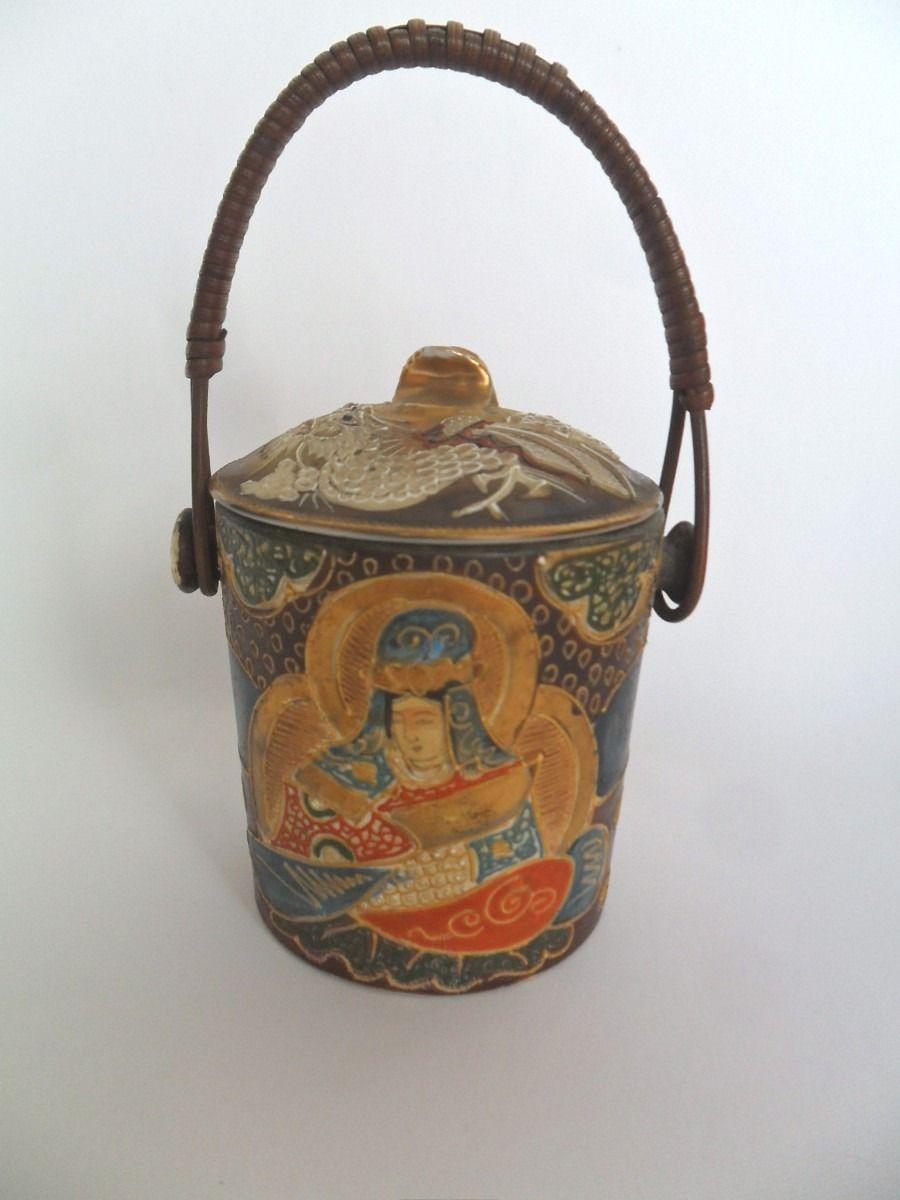 Pote Caixa De Chá Porcelana Satsuma Pintado À Mão Antigo - R$ 165,00 no MercadoLivre