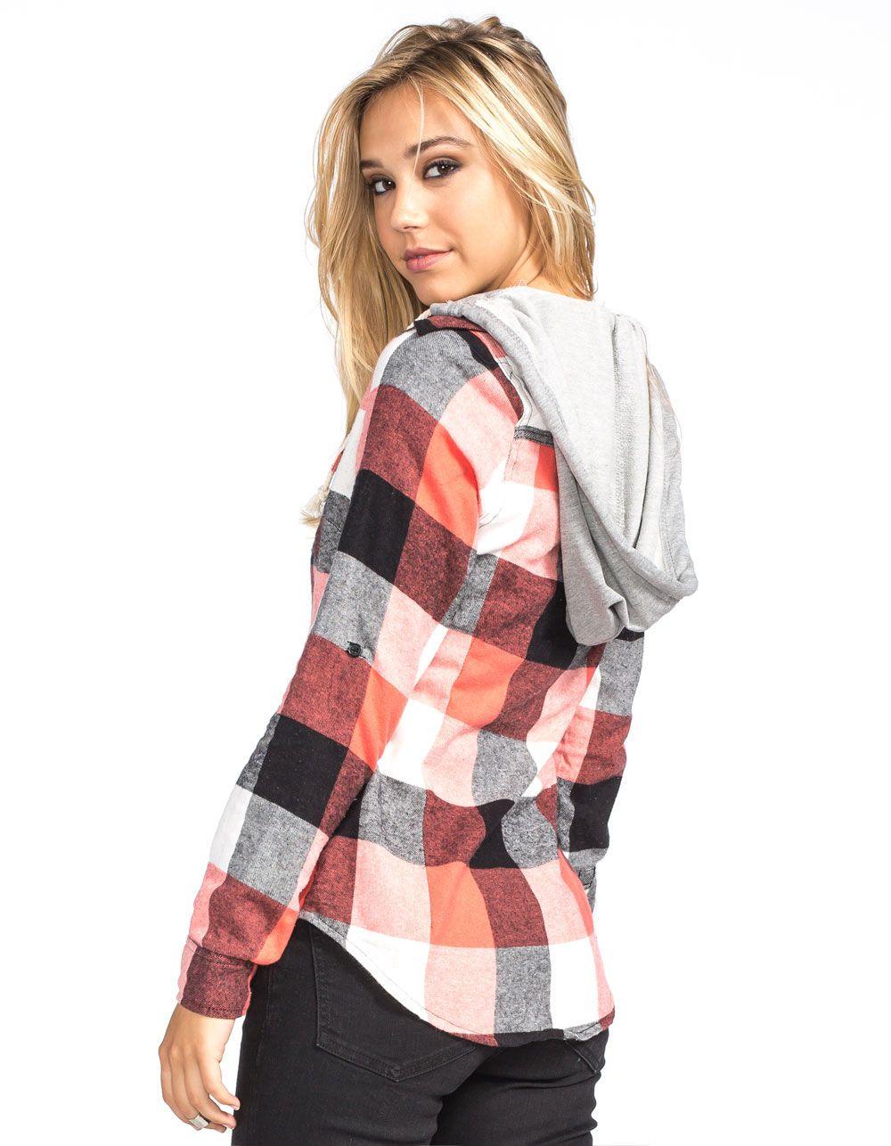 Flannel dress womens  FULL TILT Buffalo Womens Hooded Flannel Shirt   Flannels