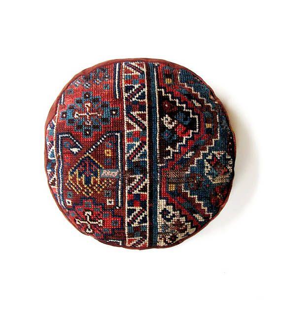 Antique Rug Pouf Iranian Round Kilim Pillow Case Pouf Round
