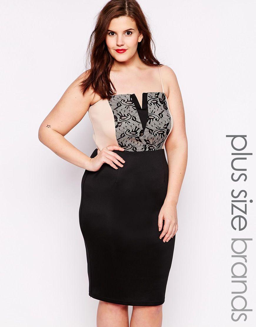 AX Paris Plus Size Cami Dress With Lace Panel | Dress Please!