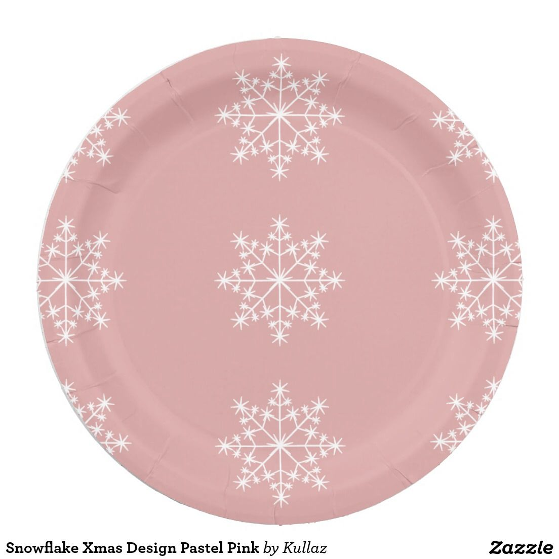 Snowflake Xmas Design Pastel Pink Paper Plate | Christmas Paper ...
