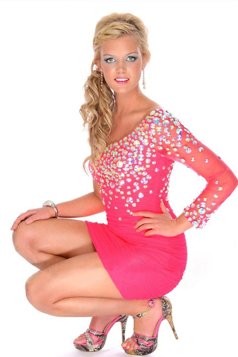 Gorgeous One Sleeve Short/Mini Rhinestone Beaded Prom Dresses Love ...
