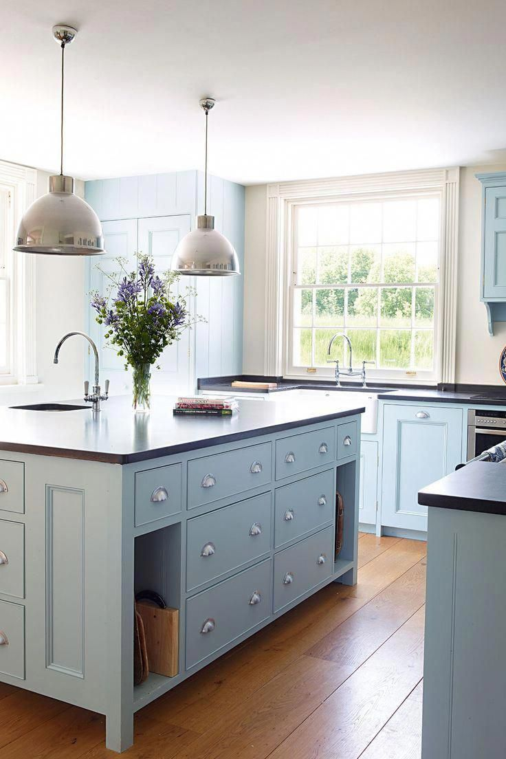 powder blue colored kitchen cabinets a round up of inspiration for colored kitchen c in 2020 on kitchen cabinets blue id=67037