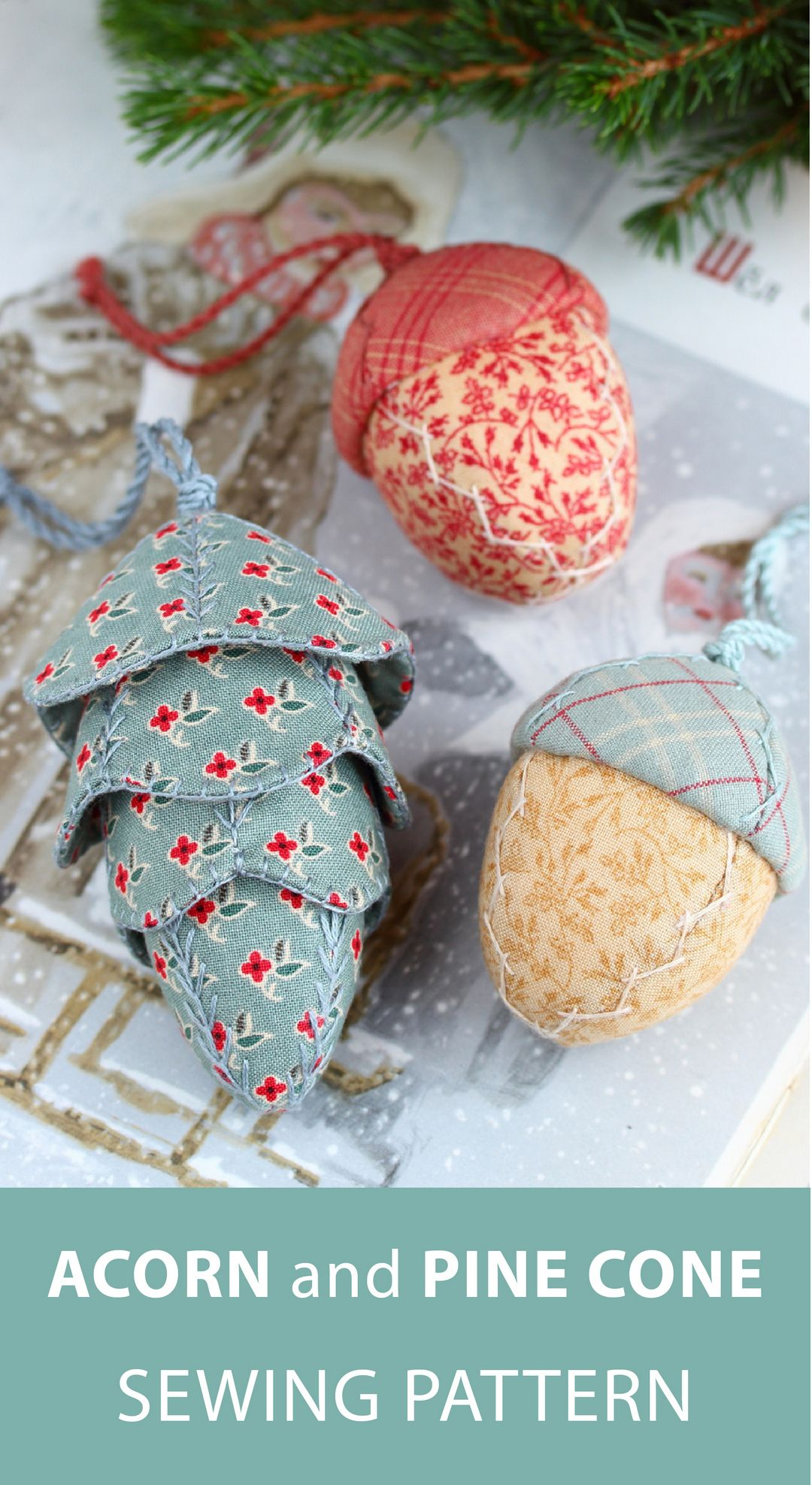 Pdf Acorn And Pine Cone Sewing Pattern Fabric Christmas Etsy In 2021 Fabric Christmas Ornaments Christmas Ornament Pattern Christmas Ornaments Homemade