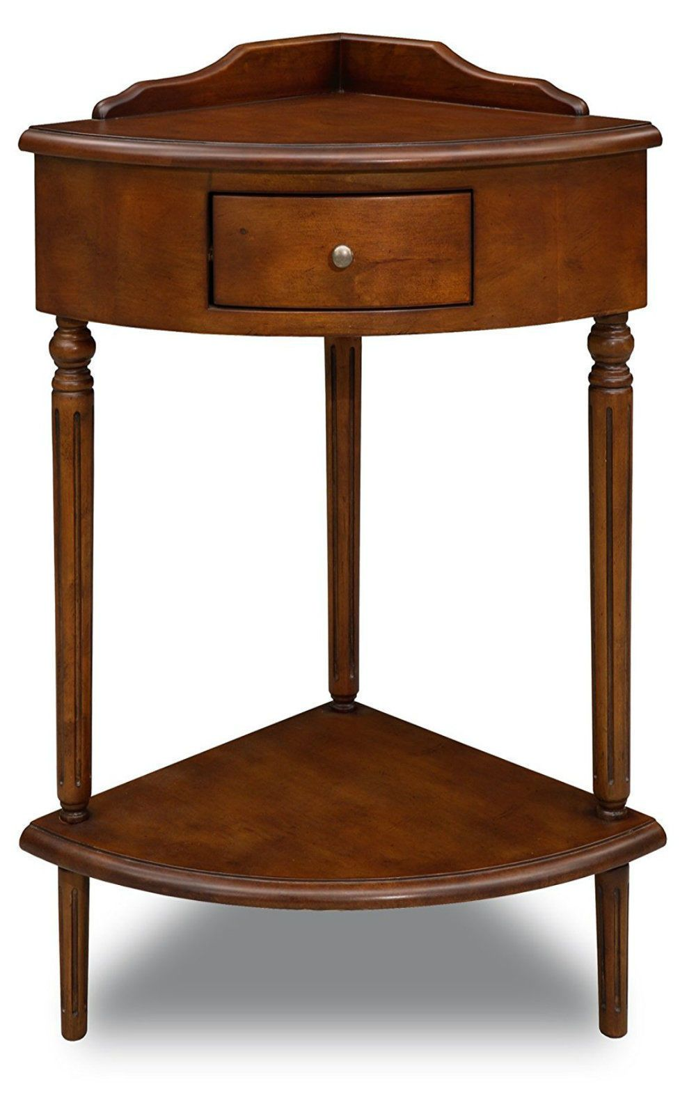 Antique Wooden Corner Accent End Table Desk with Drawer Box, Made from  Hardwood - Antique Wooden Corner Accent End Table Desk With Drawer Box, Made