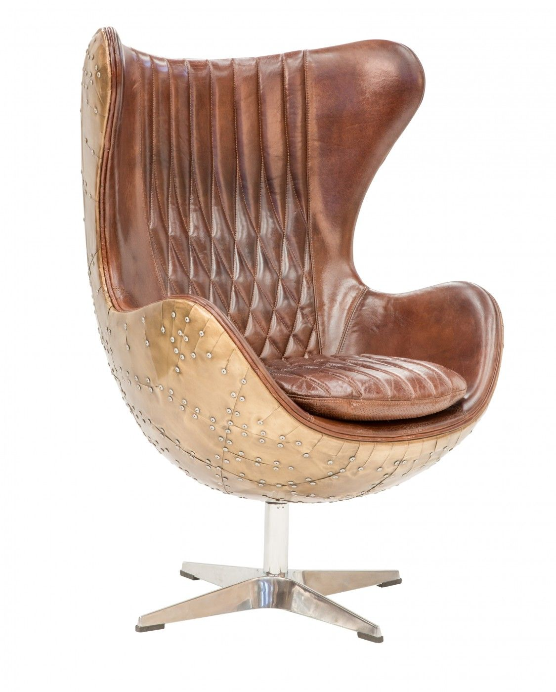 Egg Chair Copper Leather butterfly chair, Leather