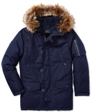 c2975dfa6aab Polo Ralph Lauren Big Boys Faux-Fur-Trim Down Parka - French Navy XL (18 20)
