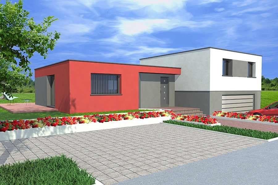 Jolie maison de plain pied composée de 3 chambres, une cuisine - exemple de facade de maison