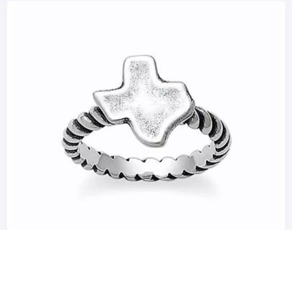James Avery Sterling Silver Twisted Cable Texas Ring Size 7