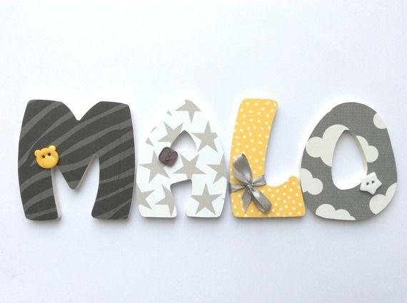 Plaque De Porte Prenom Lettres En Bois Theme Babyfan Projet De