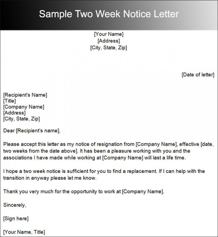 29++ Job two weeks notice letter short and sweet ideas