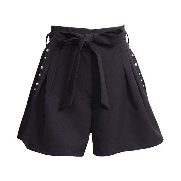 Tie-Waist Shorts (215 SEK) ❤ liked on Polyvore featuring shorts, flat-front shorts, tie waist shorts and faux-leather shorts