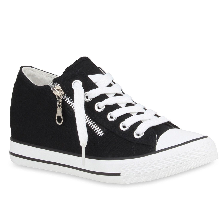 the best attitude ff414 21995 Damen-Sneakers-Keilabsatz-Sneaker-Wedges-Zipper-77323-New ...