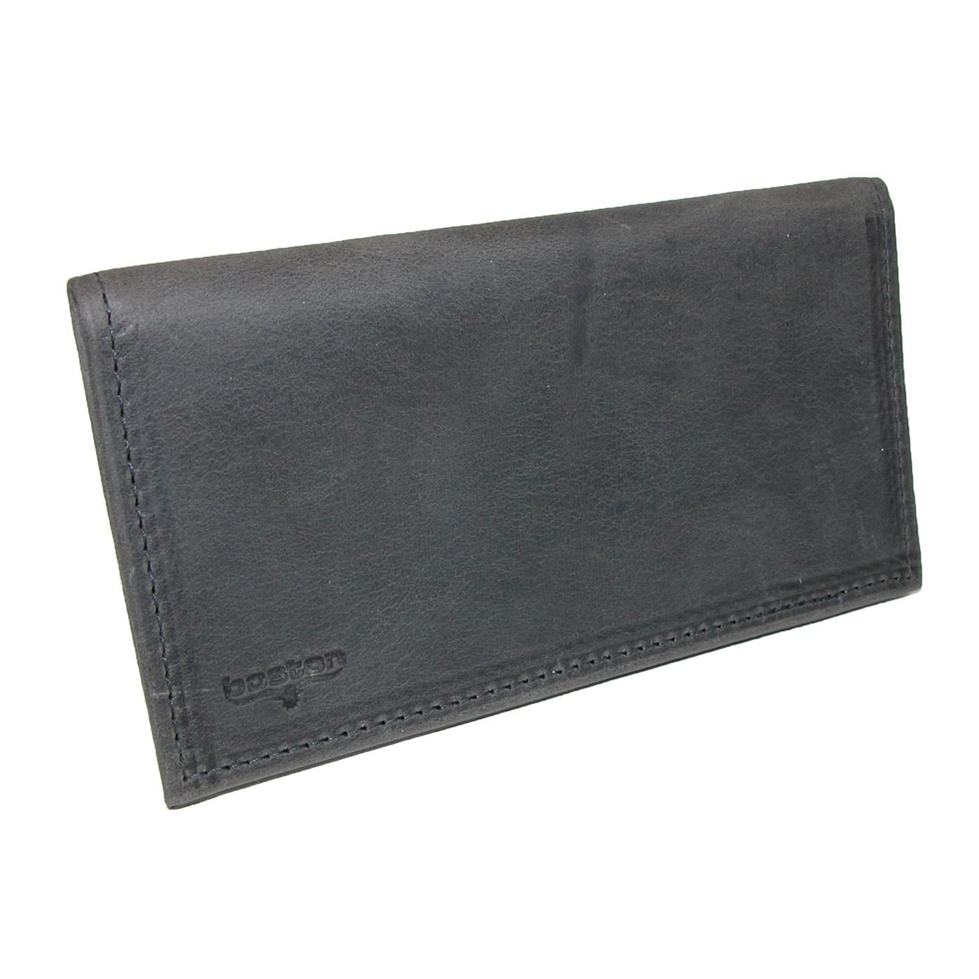 Boston Leather Distressed Leather Checkbook Cover
