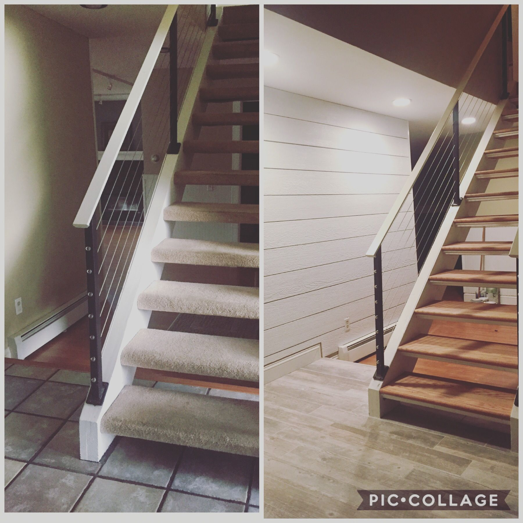 Home Remodel, Floating Stairs, Shiplap Accent Wall And New