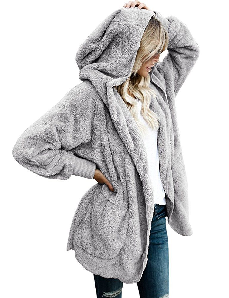 1abb3a795087 LookbookStore Women s Oversized Open Front Hooded Draped Pocket ...