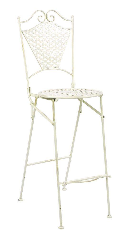 Gartenmobel Eisenmobel Barhocker Gartenstuhl Antik Stil Eisen Creme Weiss 117cm Eisenmobel Gartenstuhle Stuhle