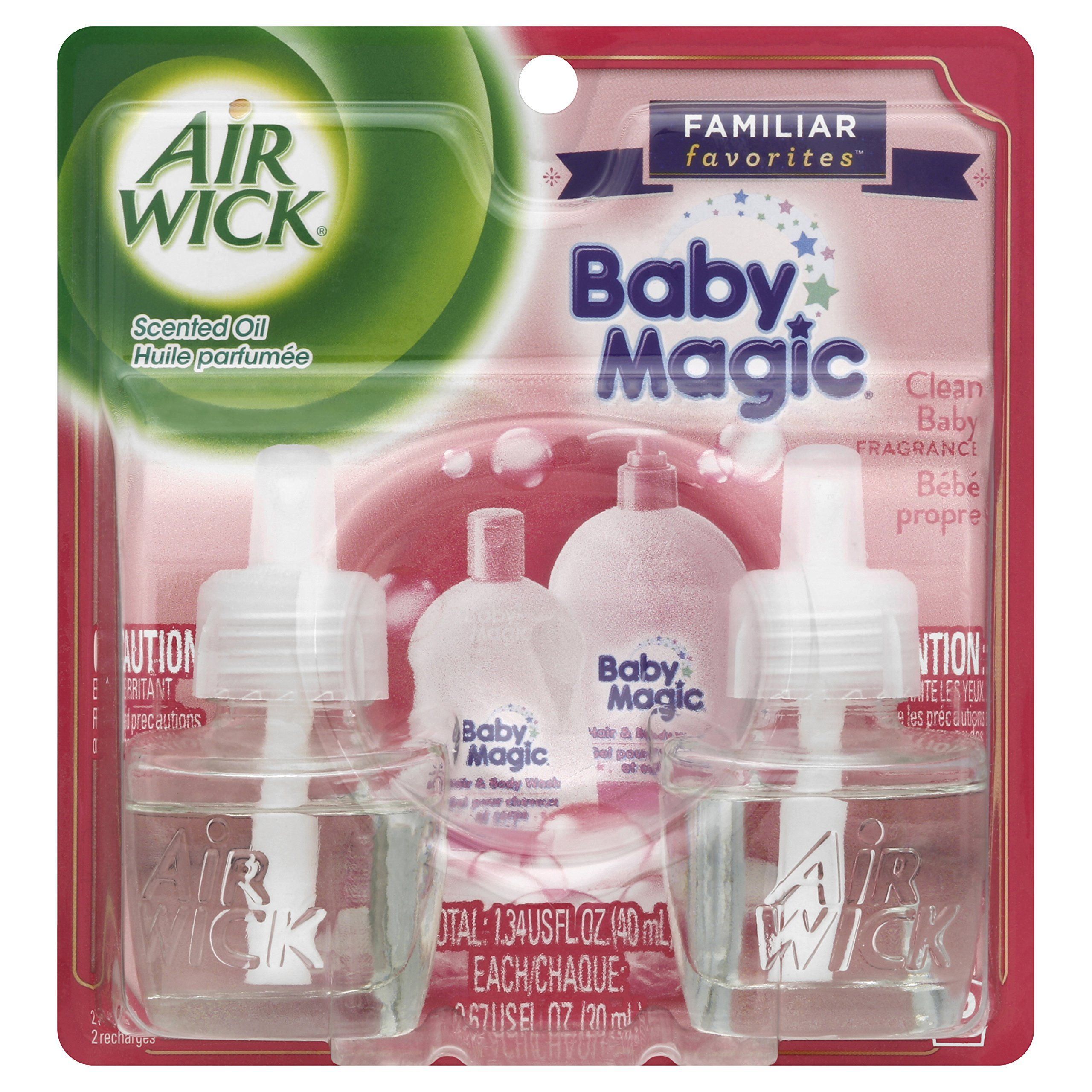 Air Wick Scented Oil Twin Refills Air Freshener Baby Magic 2 Count