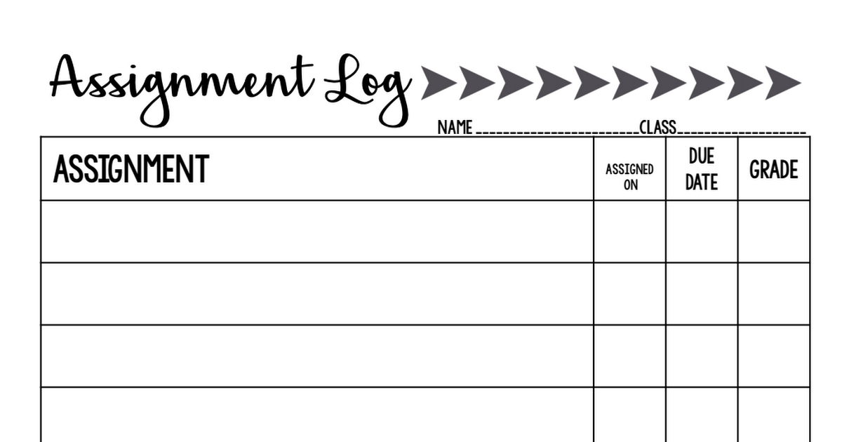 student assignment log pdf documentation and research class