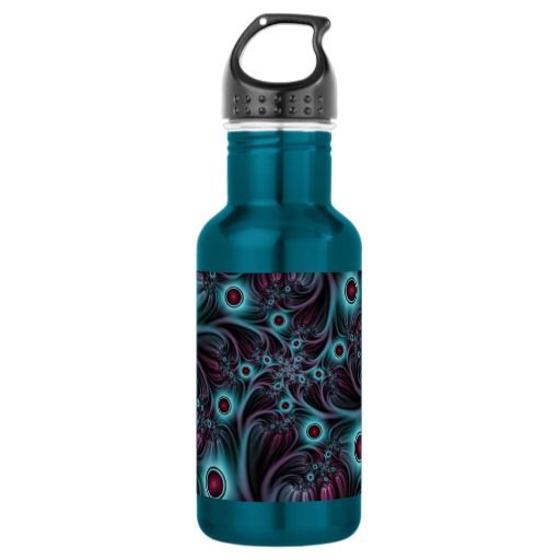 Into the Depth Blue Pink Abstract Fractal Art Stainless Steel Water Bottle