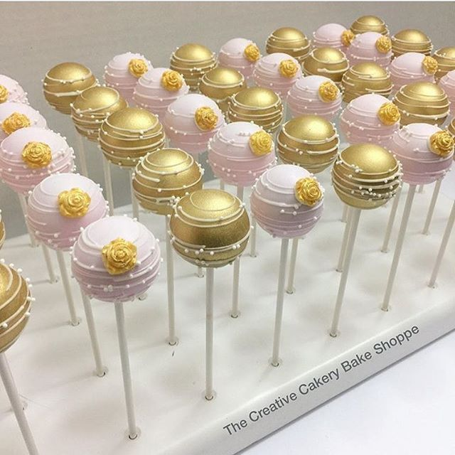 Oooh how pretty! Lovely bridal shower cake pops made by @thecreativecakery displayed in their KCBakes stand!  Shop www.kcbakes.com (link in bio)  Yummery - best recipes. Follow Us! #kitchentools #kitchen