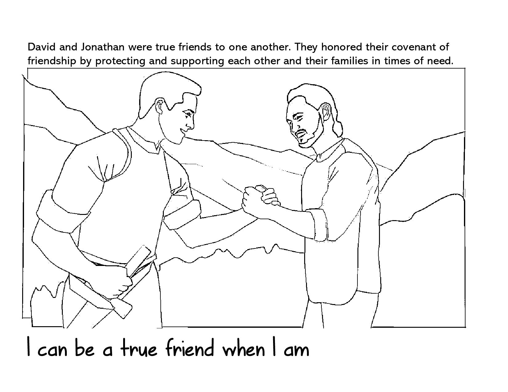 Primary 6 Lesson 29 David And Jonathan Coloring Page