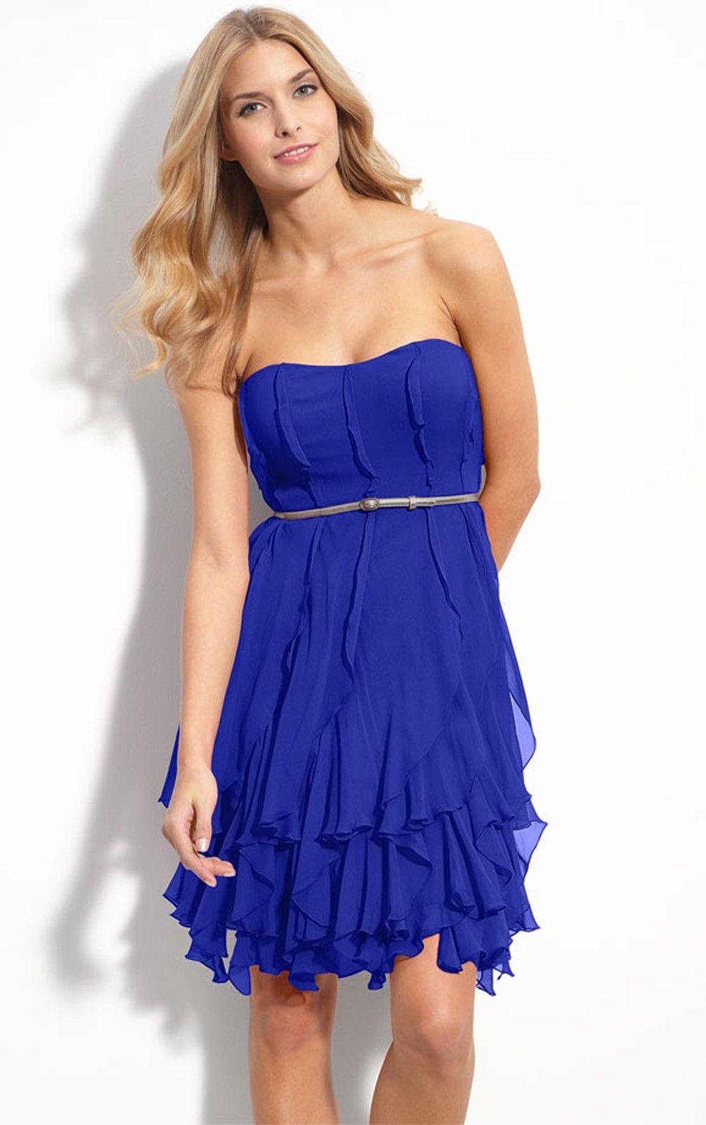 87 Elegant A-line Short Strapless Royal Blue Chiffon Dress 47-pro ...