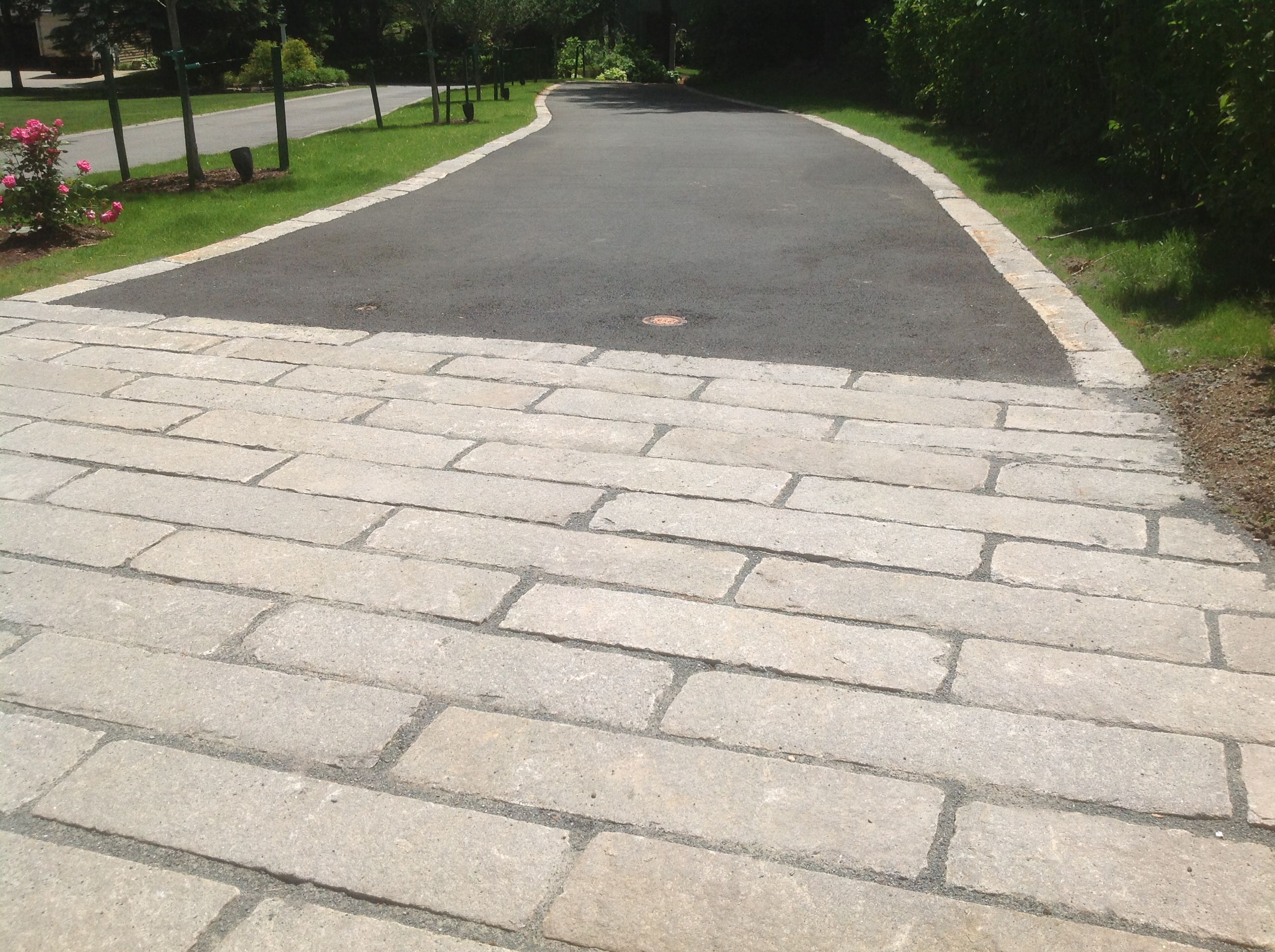 Reclaimed granite curbing and used in driveway apron and for Driveway apron ideas