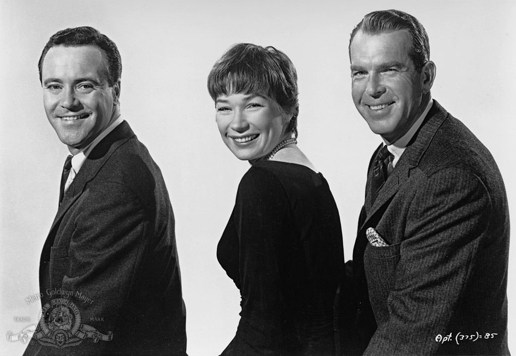 Jack Lemmon, Shirley MacLaine, and Fred MacMurray in The Apartment (1960)
