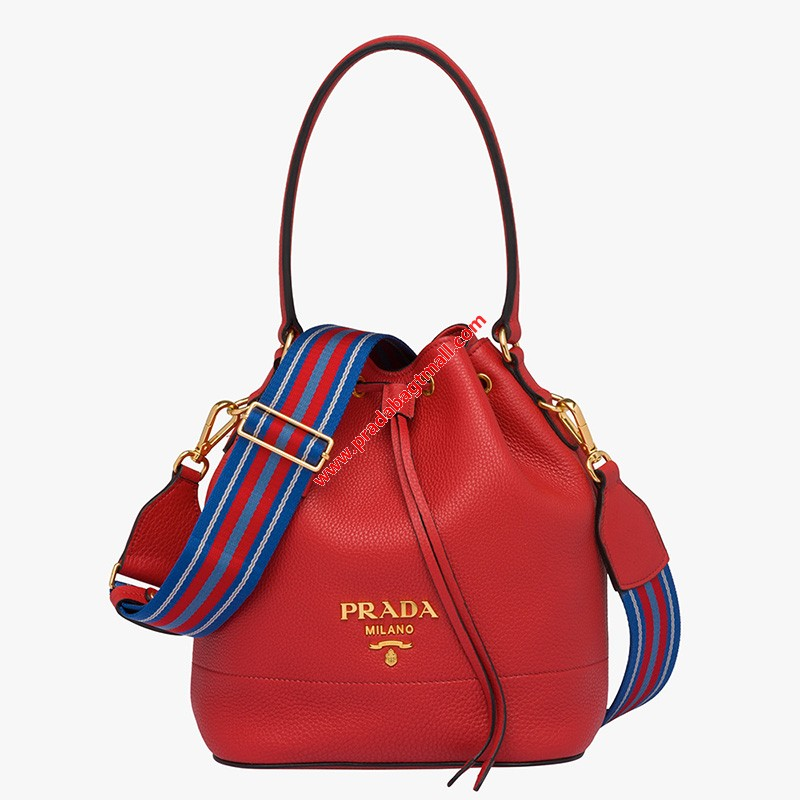 Photo of Prada 1BE018 Calf Leather Bucket Bag In Red