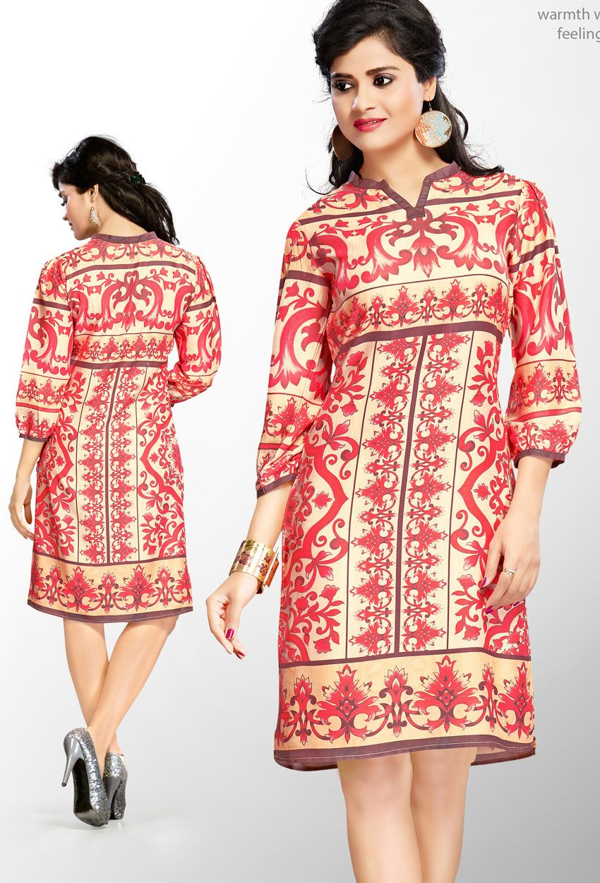 a00e3005a9 #Readymade Red And #Cream #Cotton #Printed #Kurti #nikvik #usa #designer # australia #canada #freeshipping #fashion #dress #tunic #sale