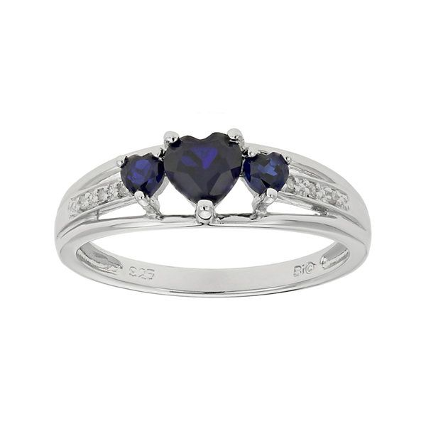 Fine Jewelry Personally Stackable Lab-Created Sapphire 3-Stone Ring EidDB3
