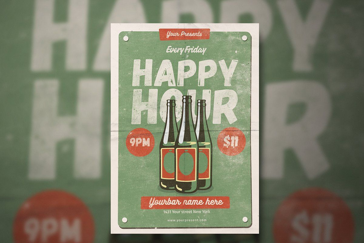 Vintage Happy Hour flyer and poster