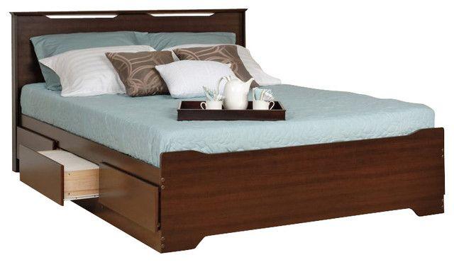 Liebenswerte Konigin Plattform Bett Mit Kopfteil Prepac Kohle
