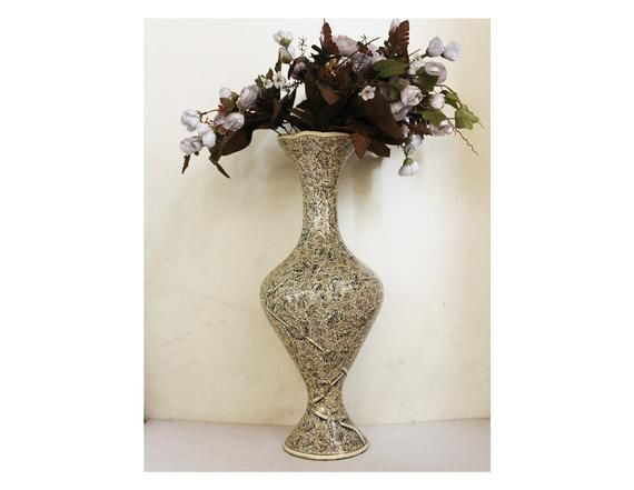 Floor Vase Monochrome Flora Painted By Hand Brass And Papier