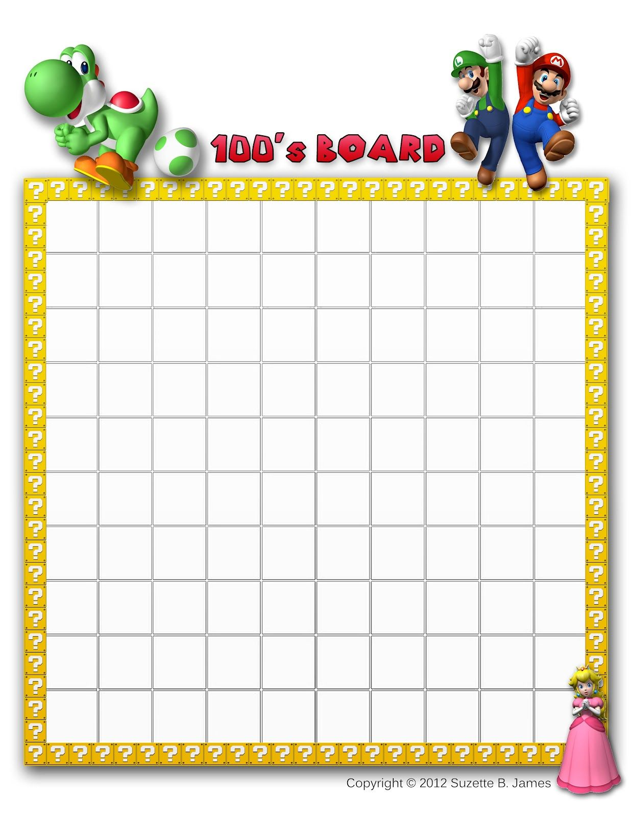 Blank Hundreds Board Template