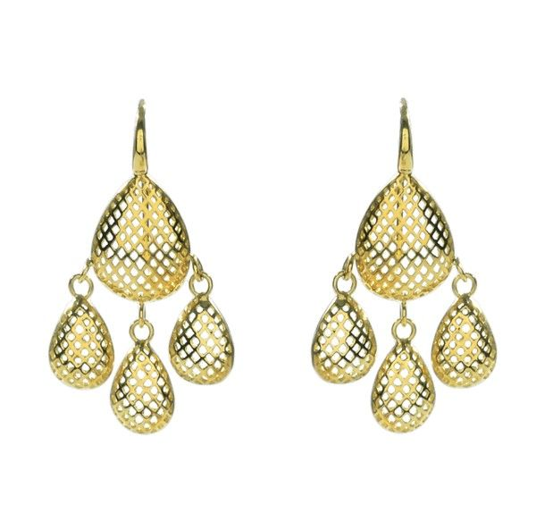 """Ray Griffiths 18K Gold """"Crown Pattern"""" Pear Shaped Multi ..."""