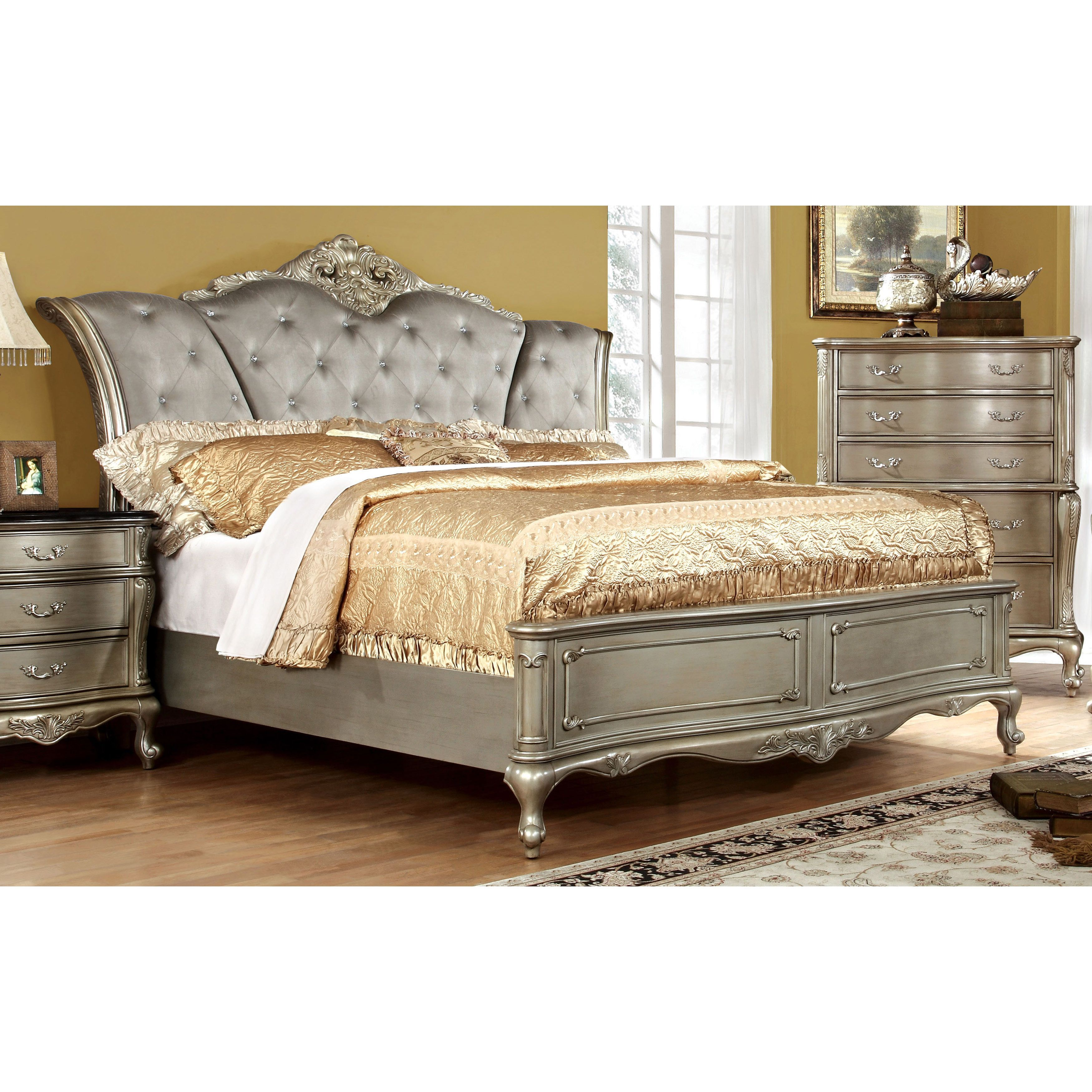 furniture of america therese luxury gold button tufted bed cal